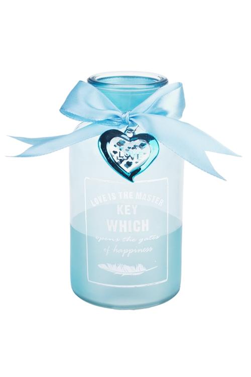 Ваза для цветов Трепет сердцаСтеклянные вазы и кашпо<br>Выс=16см, стекло, прозр.-голуб.<br>