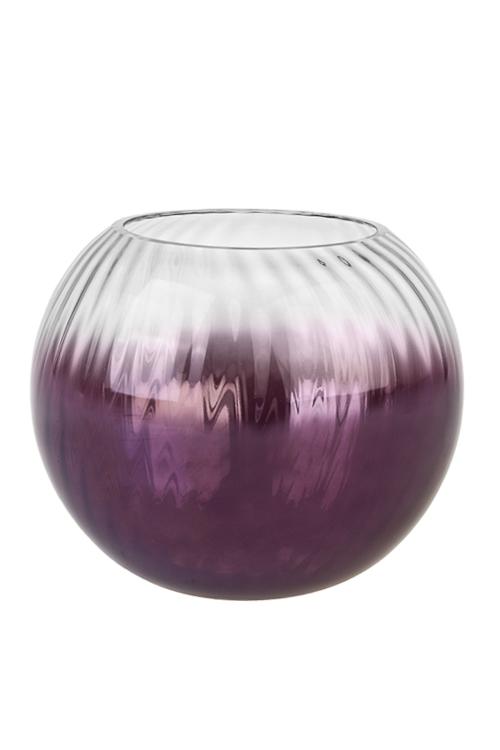 Ваза для цветов СфераИнтерьер<br>18*16см, стекло, прозр.-фиолет.<br>