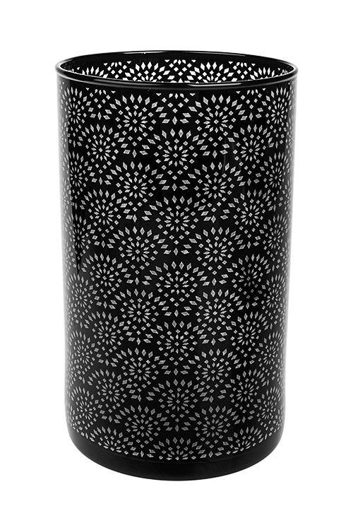 Ваза для цветов Восточный орнаментИнтерьер<br>Выс=20см, стекло, черная<br>