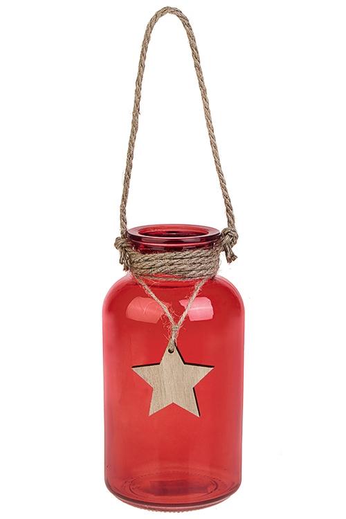 Ваза для цветов ЗвездаИнтерьер<br>Выс=20см, стекло, красная<br>