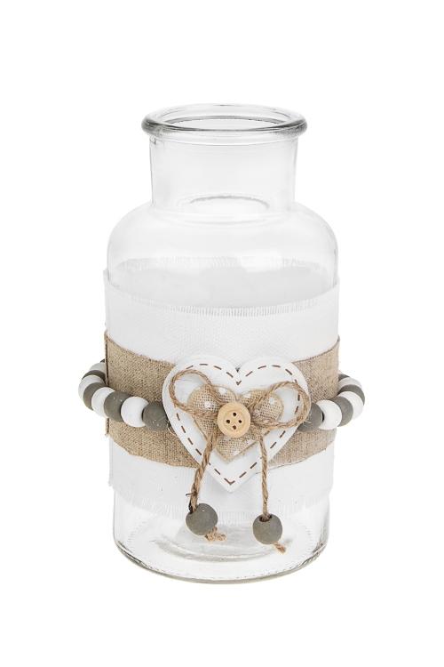 Ваза для цветов Нежное сердцеСтеклянные вазы и кашпо<br>Выс=16.5см, стекло, текстиль<br>