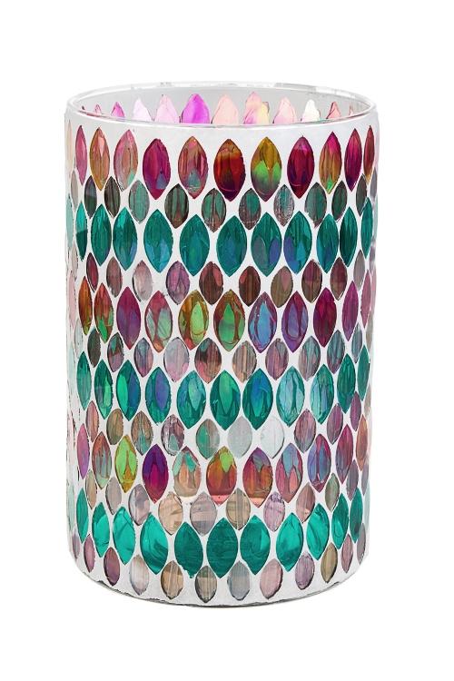 Ваза для цветов МозаикаИнтерьер<br>Выс=20см, стекло, разноцветная<br>