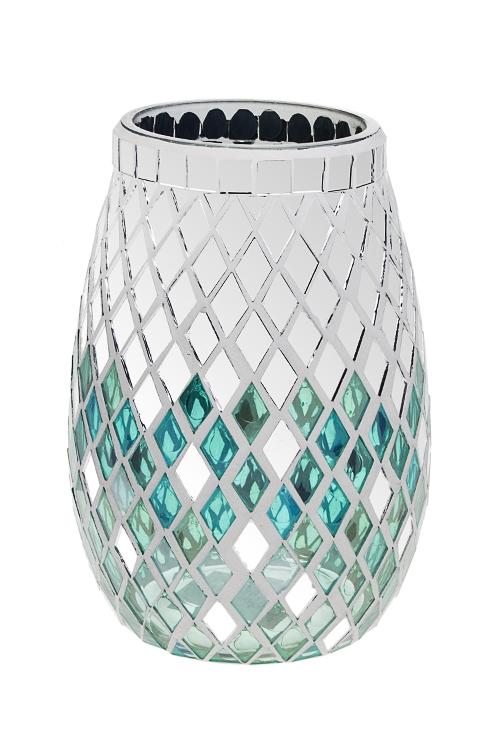 Ваза для цветов Блеск зеркалИнтерьер<br>Выс=20см, стекло, серебр.-мятная<br>