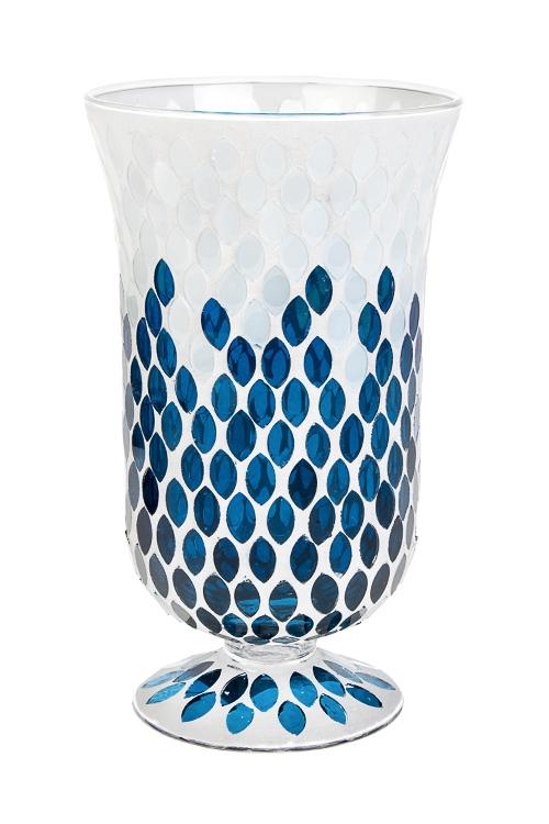 Ваза для цветов Морские мотивыИнтерьер<br>Выс=22см, стекло, сине-белая<br>