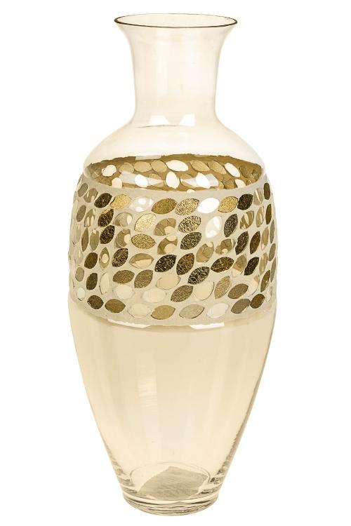 Ваза для цветов Солнечные бликиИнтерьер<br>Выс=35см, стекло, крем.-золотая<br>