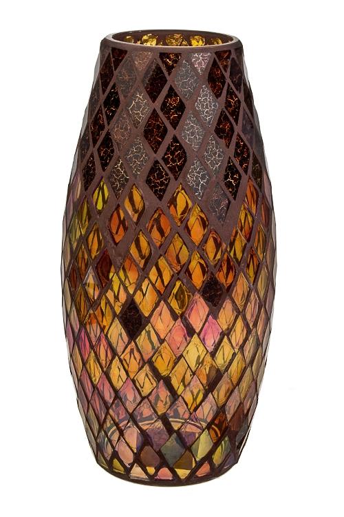 Ваза для цветов Изысканный витражИнтерьер<br>Выс=30см, стекло, коричн.-перламутр.<br>
