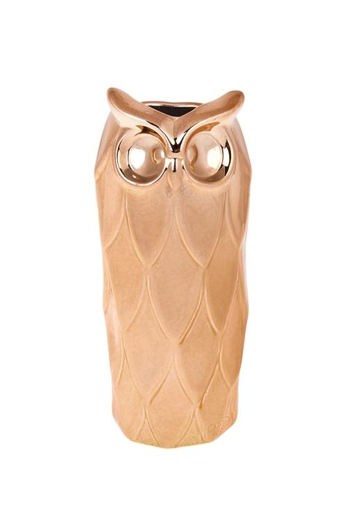Ваза для цветов СоваКерамические вазы и кашпо<br>Выс=19см, керам., розовое золото<br>