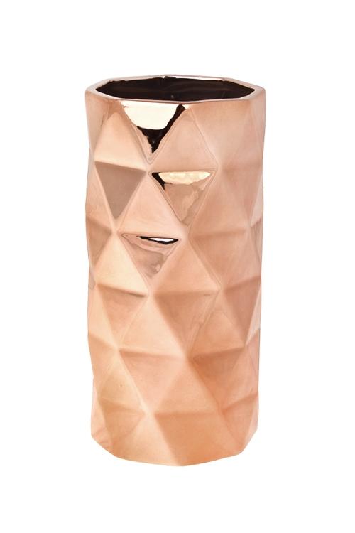 Ваза для цветов Золотая граньКерамические вазы и кашпо<br>Выс=23.5см, керам., розовое золото<br>