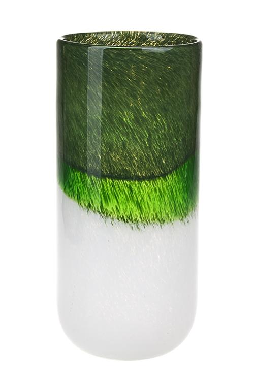 Ваза для цветов ФлораСтеклянные вазы и кашпо<br>Выс=28см, стекло, бело-зеленая<br>