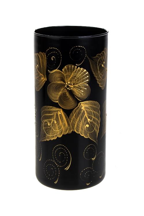 Ваза для цветов Золотые цветыИнтерьер<br>Выс=20см, стекло, черно-золот.<br>