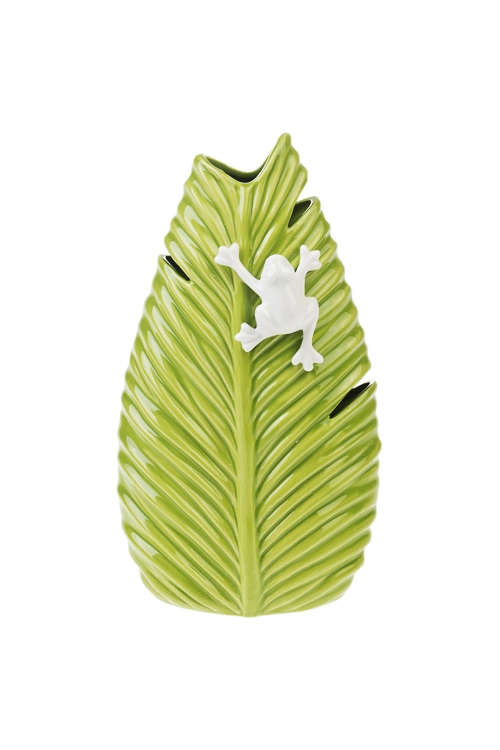 Ваза для цветов Лягушка на листочкеИнтерьер<br>Выс=26см, керам., зелено-белая<br>
