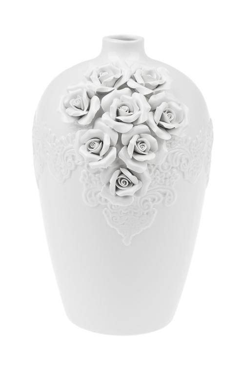 Ваза для цветов РозыИнтерьер<br>Выс=28см, керам., белая<br>
