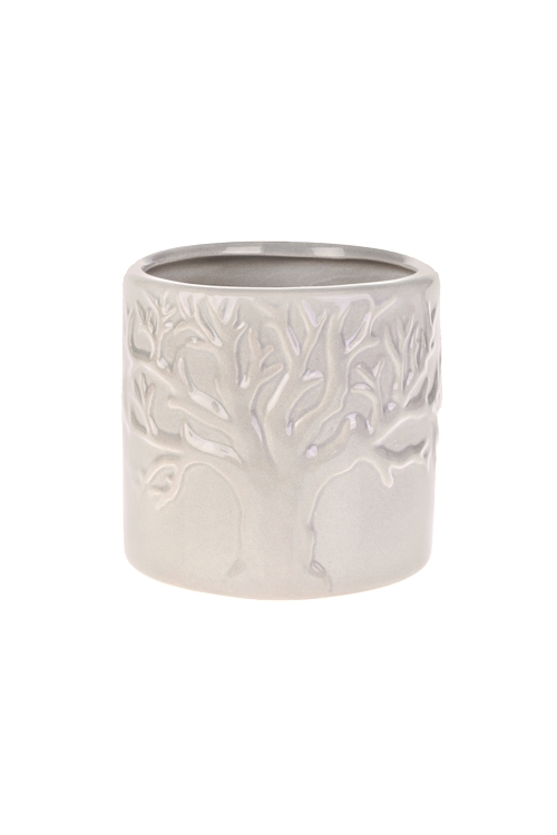 Кашпо для цветов Древо жизниКерамические вазы и кашпо<br>10*10*10см, доломит. керам., беж.<br>