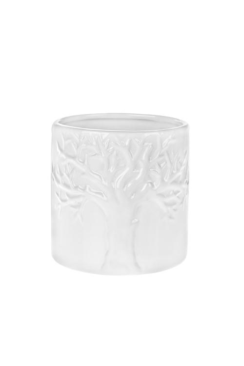 Кашпо для цветов Древо жизниКерамические вазы и кашпо<br>12*12*12см, доломит. керам., белое<br>