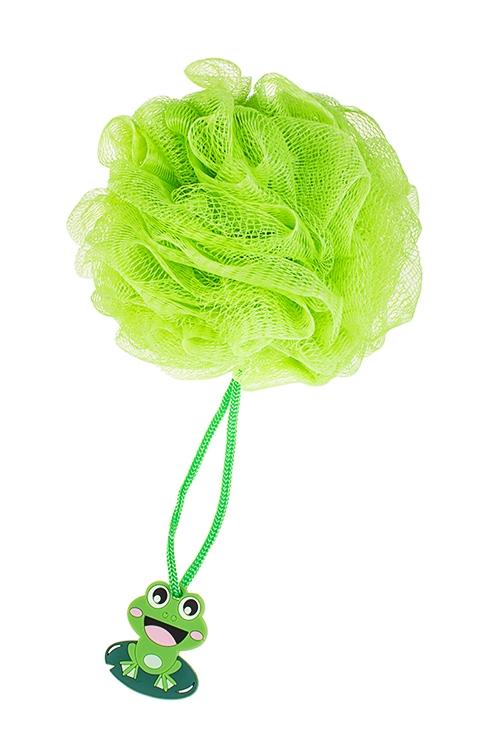 Мочалка для душа ЛягушонокШкатулки и наборы по уходу<br>Д=14см, полиэтилен, зеленая<br>