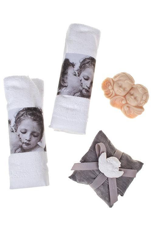 Набор подарочный АнгелочкиШкатулки и наборы по уходу<br>(2 полотенца, мыло, саше), амбра<br>