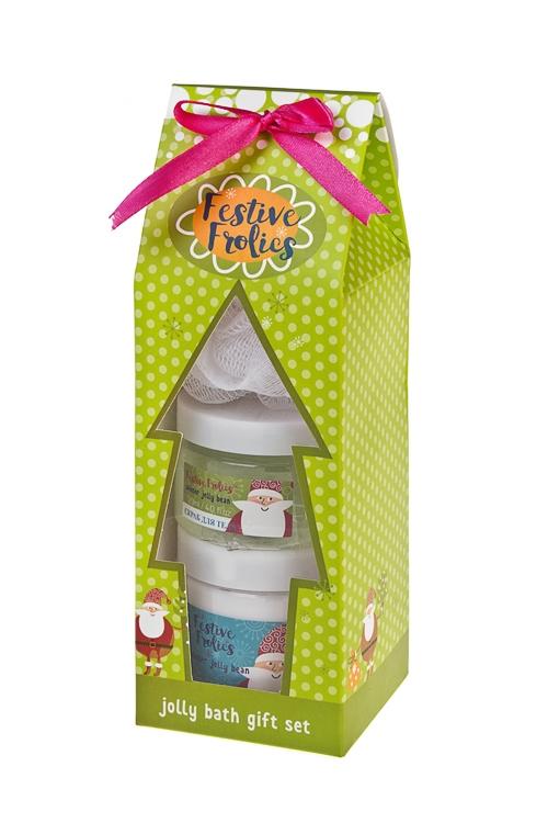 Набор косметический Дед МорозНаборы для ванной<br>(масло д/тела, скраб д/тела, мочалка), аром. мармелада<br>