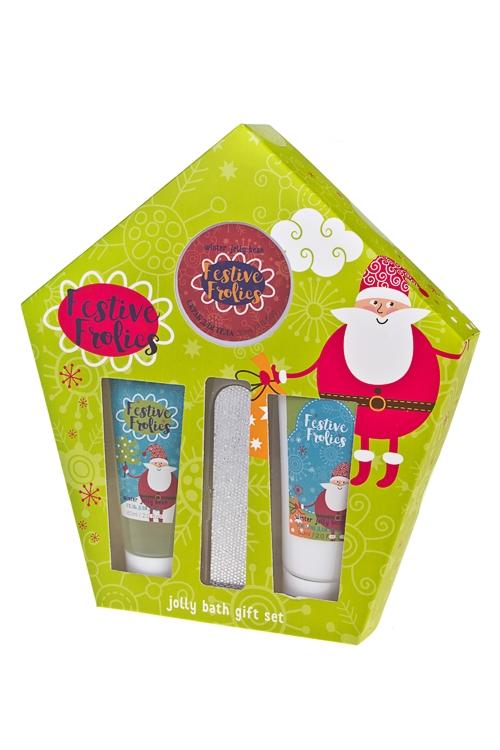 Набор косметический Дед МорозНаборы для ванной<br>(гель д/душа, лосьон д/тела, скраб д/тела, пилка), аром. мармелада<br>