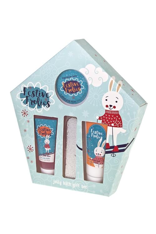 Набор косметический КроликНаборы для ванной<br>(гель д/душа, лосьон д/тела, скраб д/тела, пилка), аром. леденцов<br>