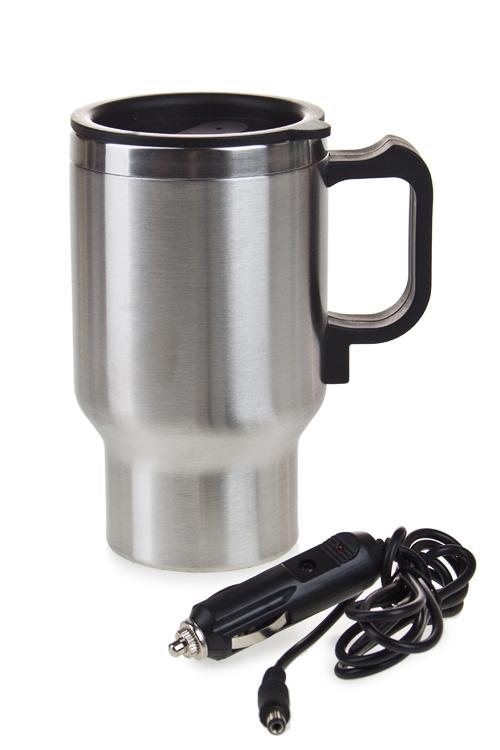 Термокружка автомобильная КомфортТермокружки и стаканы для чая/кофе<br>420мл, нерж., пласт., серебр., с нагрев. элементом<br>