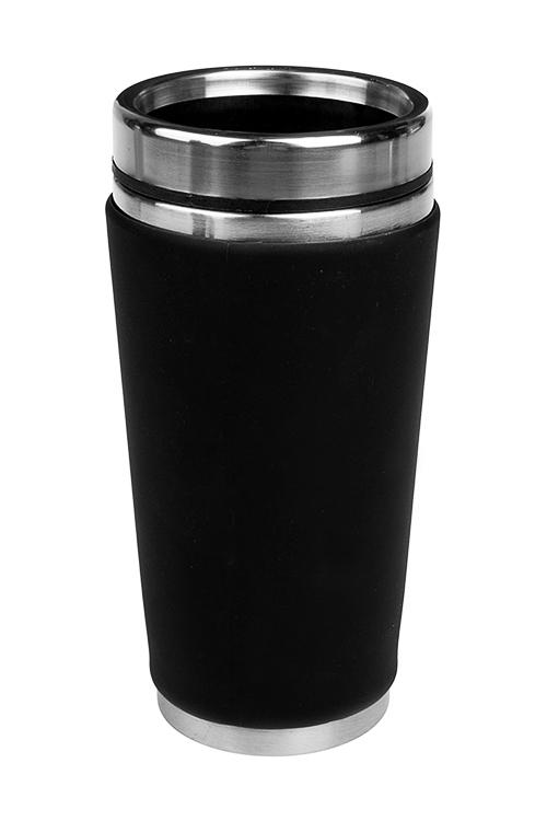 Термокружка с крышкой ОриджинТермокружки и стаканы для чая/кофе<br>420мл, с двойной стенкой, нерж., пласт., силикон. поверхн. черная<br>