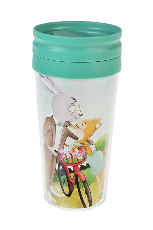 Термокружка с крышкой Сладкая парочкаТермокружки и стаканы для чая/кофе<br>420мл, пласт. (с двойными стенками)<br>