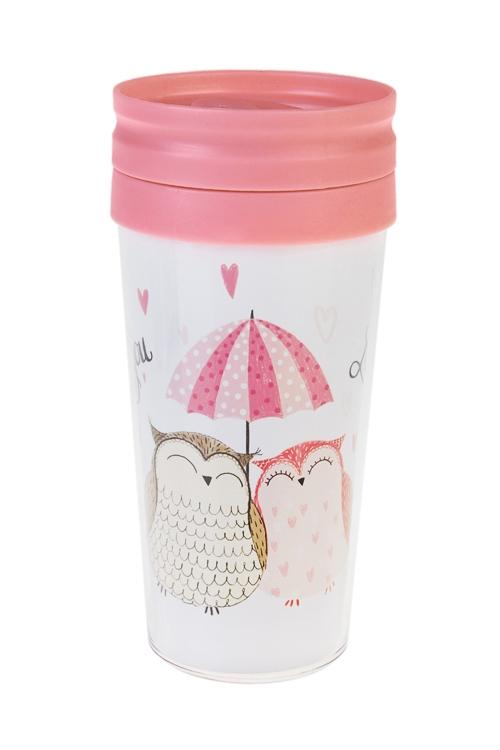 Термокружка с крышкой Только любовьТермокружки и стаканы для чая/кофе<br>420мл, пласт. (с двойными стенками)<br>