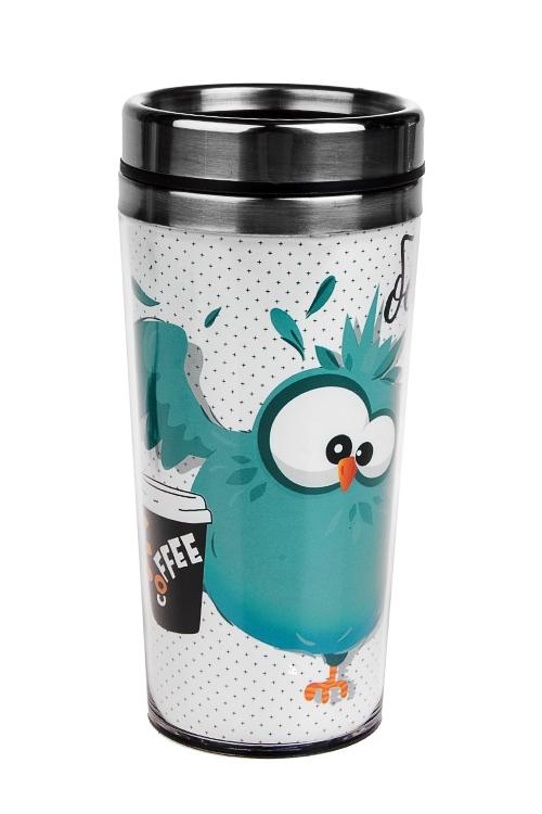Термокружка с крышкой Бодрое утроТермокружки и стаканы для чая/кофе<br>420мл, нерж. сталь, пласт. (с двойными стенками)<br>