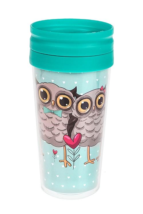 Термокружка с крышкой Влюбленные совыТермокружки и стаканы для чая/кофе<br>420мл, пласт. (с двойными стенками)<br>