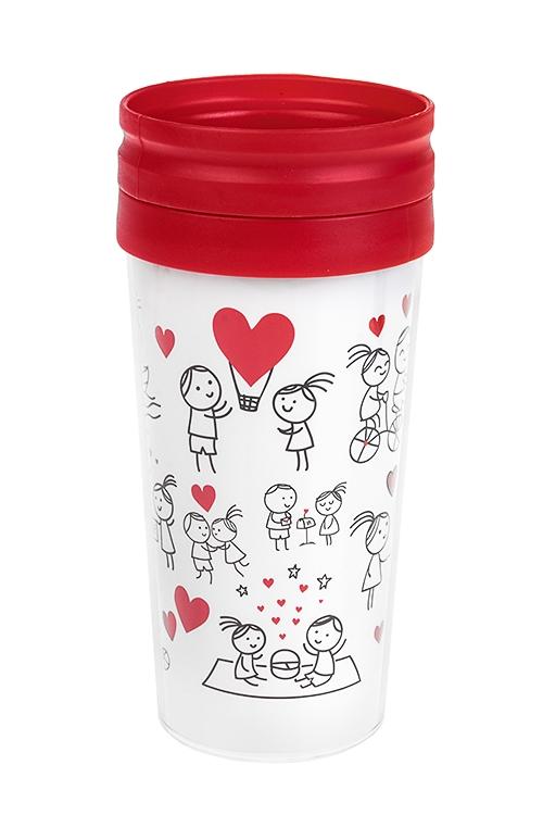 Термокружка с крышкой Комикс о любвиТермокружки и стаканы для чая/кофе<br>420мл, пласт. (с двойными стенками)<br>