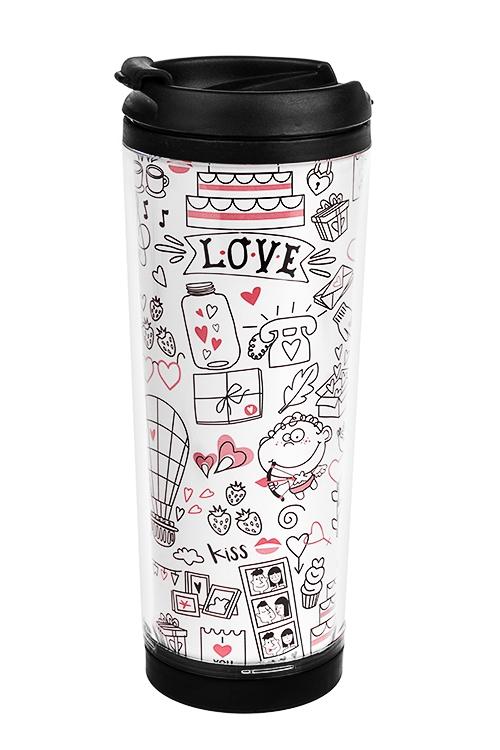 Термокружка с крышкой Все о любвиТермокружки и стаканы для чая/кофе<br>320мл, пласт. (с двойными стенками, со сменным декором)<br>