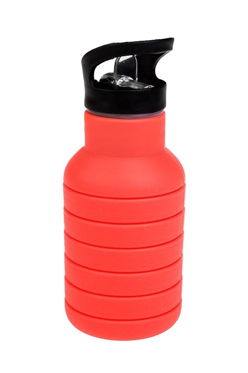 Фляжка-трансформер спортивная ЯркостьПосуда<br>300/700мл, силикон, коралловая<br>