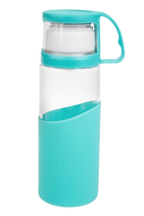 Бутылка дорожная МятаПосуда<br>500мл, стекло, пластм. (с кружкой)<br>