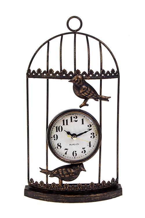 Часы настольные Птички в клеткеИнтерьер<br>15*27см, металл, состар.золот.<br>