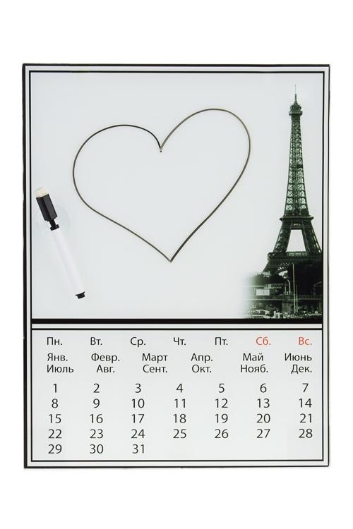 Доска-мемо Путешествие в ПарижМемо-листики и доски<br>30*40см, стекло, с календарем и маркером<br>