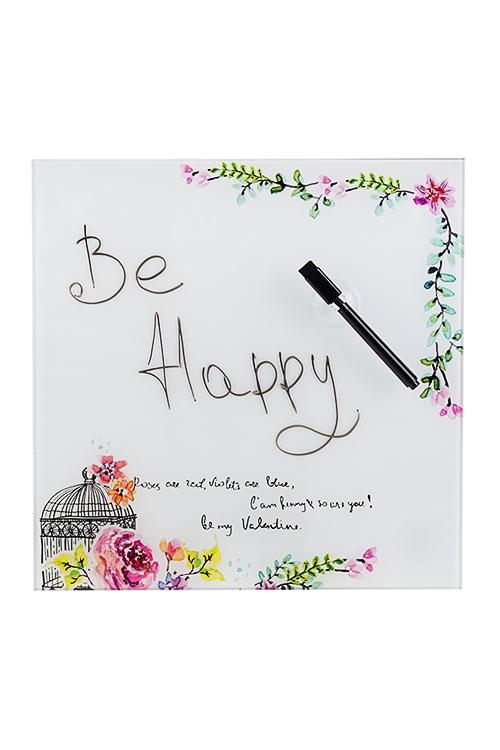 Доска-мемо Цветы счастьяМемо-листики и доски<br>30*30см, стекло, с маркером<br>