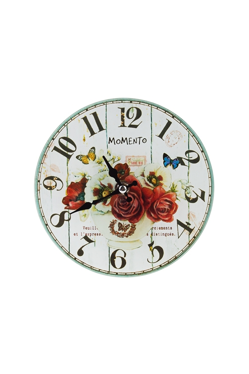 Часы настенные/настольные Пестрый букетИнтерьер<br>Д=17см, стекло<br>