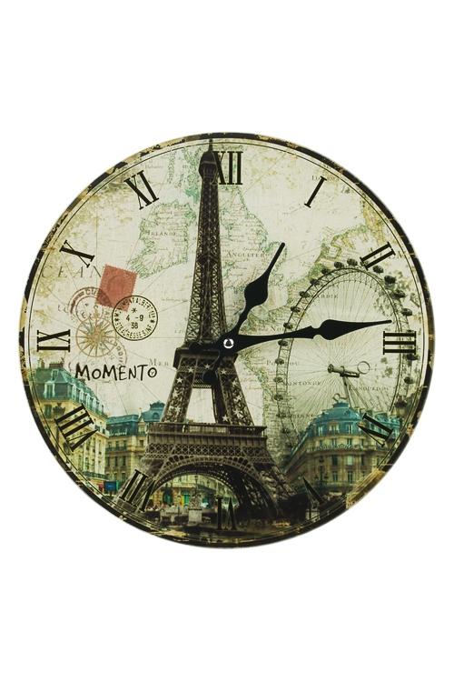 Часы настенные Достопримечательности ПарижаИнтерьер<br>Д=30см, стекло<br>