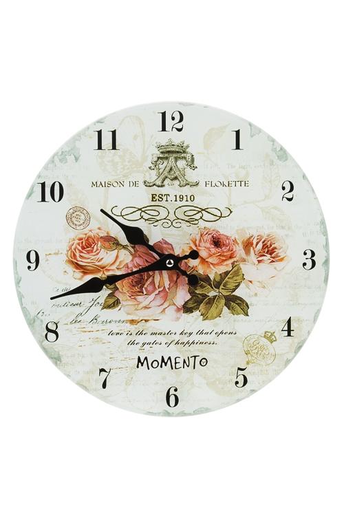 Часы настенные Бархатные розыИнтерьер<br>Д=30см, стекло<br>
