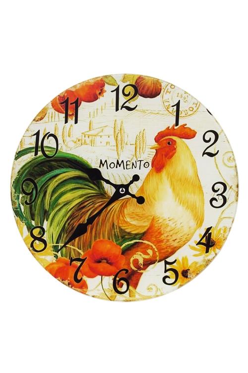 Часы настенные Петух в макахИнтерьер<br>Д=30см, стекло<br>