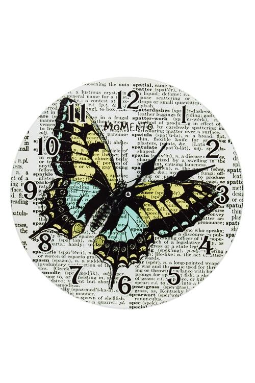 Часы настенные Полет бабочкиИнтерьер<br>Д=30см, стекло<br>
