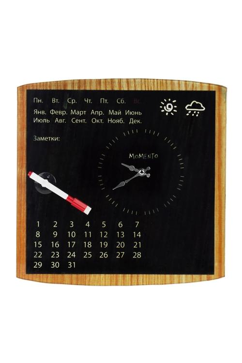 Часы настенные Лучший деньЧасы Настенные<br>34*34см, стекло, с календарем и маркером<br>