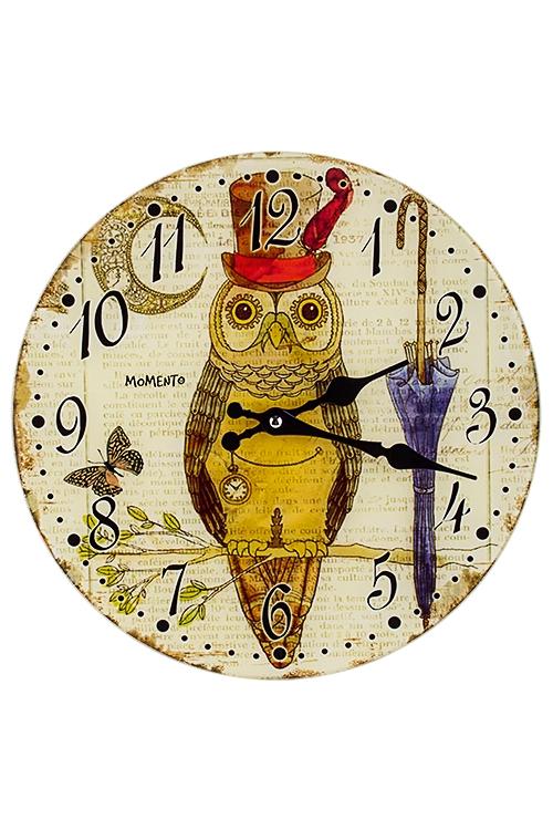 Часы настенные Мистер Сова с зонтикомИнтерьер<br>Д=30см, стекло<br>