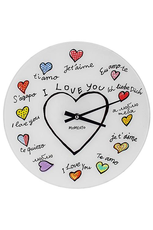 Часы настенные Я люблю тебяИнтерьер<br>Д=30см, стекло<br>