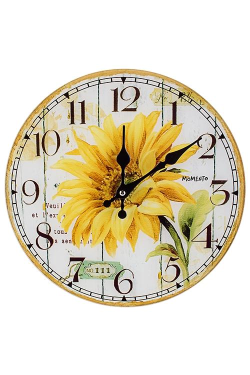 Часы настенные Солнечный подсолнухИнтерьер<br>Д=30см, стекло<br>