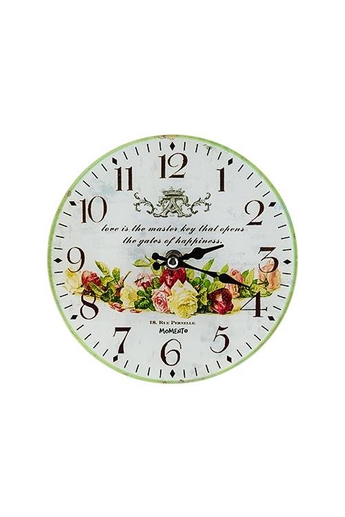 Часы настенные/настольные Цветочная коронаИнтерьер<br>Д=17см, стекло<br>