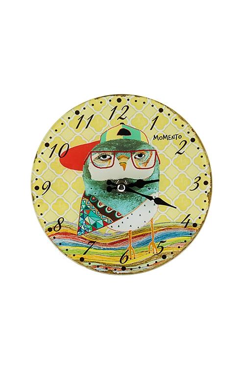 Часы настенные/настольные Модный сычИнтерьер<br>Д=17см, стекло<br>
