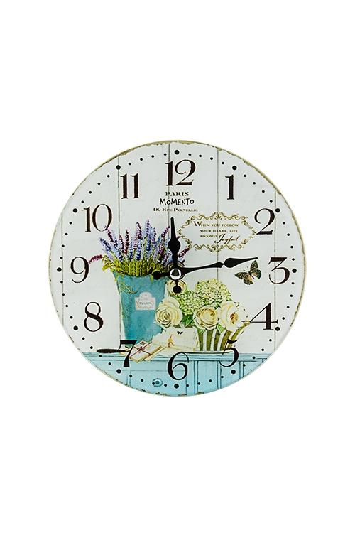Часы настенные/настольные Лавандовый букетИнтерьер<br>Д=17см, стекло<br>