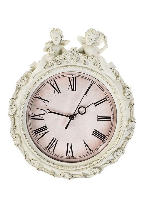 Часы настенные Старинные ангелочкиИнтерьер<br>23.5*29см, полирезин, пластм., крем.<br>