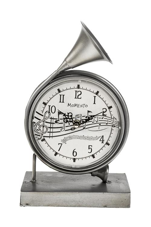 Часы настольные ТрубаЧасы Настольные<br>30*28см, металл, серебр.<br>